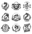 Vintage monochrome dragon tattoo labels set