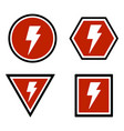 warning lightning bolt sign vector image vector image