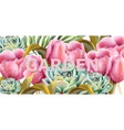 watercolor garden tulips botany background vector image