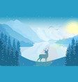 winter mountain landscape with deer and sunrise vector image vector image
