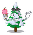with ice cream firs with snow on character tree vector image