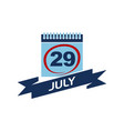 29 july calendar with ribbon vector image
