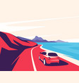 a red car moving along vector image