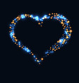 abstract design - blue glitter particles in heart vector image vector image