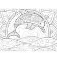 adult coloring bookpage a cute dolphin on the vector image vector image