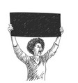 african american woman with black banner is vector image vector image