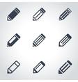 black pencil icon set vector image vector image