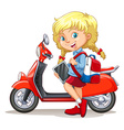 Blond girl and motorcycle vector image