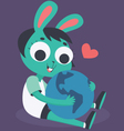 Bunny Girl Hugging the World vector image