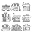 cafe buildings hand drawn shop restaurants small vector image vector image
