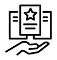 care hand paper icon outline style vector image