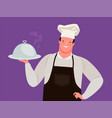 chef offers a delicious menu restaurant cafe vector image vector image