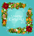 christmas tree holly berry garland frame corner vector image vector image