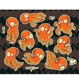 Collection of stickers with octopuses cartoon vector image vector image