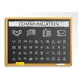 Communication hand drawing line icons chalk vector image