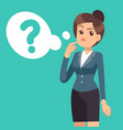 confused businesswoman thinking girl and cloud vector image vector image
