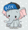 cute cartoon elephant on a white background vector image