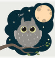 cute cartoon owl with a full moon halloween poster vector image vector image