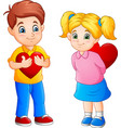 cute couple cartoon with red hearts vector image