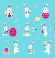 cute little bunnies with decorated eggs set vector image vector image