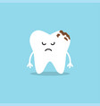 cute tooth characters tooth with caries vector image