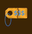 flat shading style icon sale tag money vector image vector image