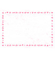 frame of hearts and dots in pink on white vector image