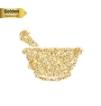 Gold glitter icon of mortar isolated on vector image vector image