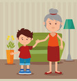 grandmother with grandson in the livingroom vector image vector image