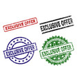 grunge textured exclusive offer stamp seals vector image