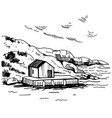 hand drawn landscape with house on coast vector image vector image