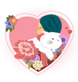 happy valentines day with hug girl and cat vector image vector image