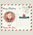 holiday card with funny santa claus and decorative vector image vector image