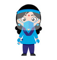 indian lady police corona security government vector image vector image