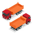 isometric dump truck isolated vector image vector image
