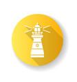 lighthouse yellow flat design long shadow glyph vector image