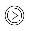 line art right arrow with ellipse flat style vector image vector image