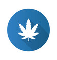marijuana leaf flat design long shadow glyph icon vector image