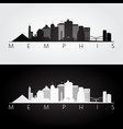 memphis usa skyline and landmarks silhouette vector image vector image