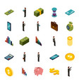 money isometric set of icons business vector image