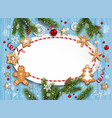 new blue christmas frame vector image vector image