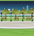 public park bench post light river city view night vector image