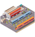 railway station exterior isolated isometric vector image