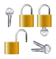 realistic set of identical gold padlocks vector image