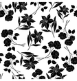 Seamless floral background black silhouettes vector image vector image