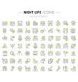 set line icons night life vector image