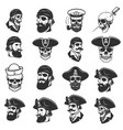 set of pirate heads and skulls design elements vector image vector image