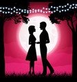 silhouettes of young woman and man on the moon vector image vector image