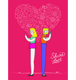 social media love couple with internet icons vector image vector image