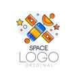 space logo original exploration space label vector image